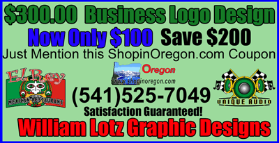 SHOP IN OREGON BUSINESS SERVICE COUPON. WILLIAM LOTZ LOGO DESIGN OR REFRESH FOR ONLY $100 - SATISFACTION GUARANTEED!
