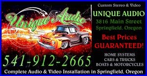 UNIQUE AUDIO (541)912-2665 HOME THEATRE AUDIO -Custom Stereo and Video in Springfield and Eugene. Home Stereo Systems - Car & Truck Audio - Boats and Motorcycle Custom Sound Systems - Complete Audio and Video Installation