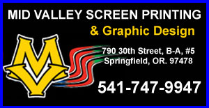 MID VALLEY SCREEN PRINTING AND GRAPHIC DESIGN 541-747-9947 Custom Graphics and Printing in Springfield Eugene Oregon