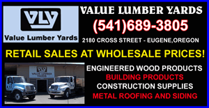 VALUE LUMBER YARDS (541)689-3805 / 2180 Cross Street in Eugene Oregon. Retail Lumber Sales at Wholesale Prices