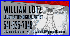 William Lotz Graphic Design, Graphic arts in Eugene and Springfield Oregon 541-525-7049 TShirt Designs, Business Cards, Brochures, Illistrations, Printing, Graphic Design and Graphic Art Eugene and Springfield